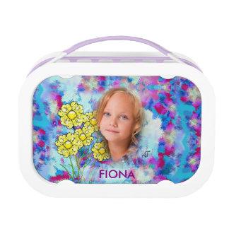 Blumenmuster-Mosaik - gelbe lila Blumen, Brotdose