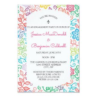Blumenmuster - Party Einladung der Verlobungs-3x5
