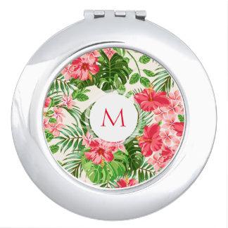 Blumenmuster-Rosa-Hibiskus-Monogramm-Vertrag M Schminkspiegel
