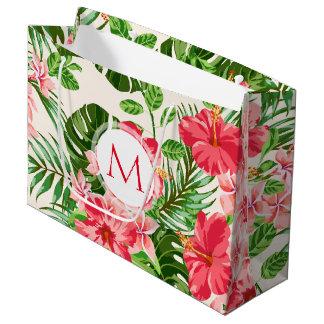Blumenmuster-rotes Hibiskus-Monogramm L Große Geschenktüte