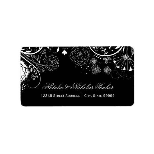 Blumenmuster schwarz/Weiß - Adressen-Etiketten Adressetiketten