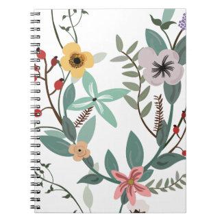 Blumenmuster und Eukalyptus-Blätter Spiral Notizblock