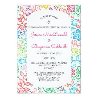 Blumenmuster - Verlobungs-Party Einladung