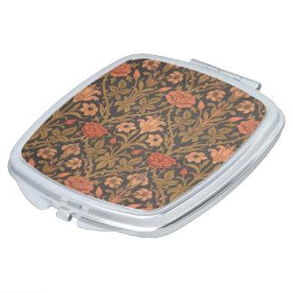 Blumenmuster-Vertrags-Spiegel des muster-W.Morris Taschenspiegel