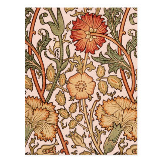 Blumenmuster-Vintages rosa Designer-Gewebe Postkarte
