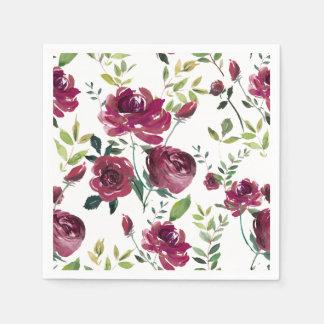 Blumenmuster Watercolor-Burgunder-Blumen-| Serviette