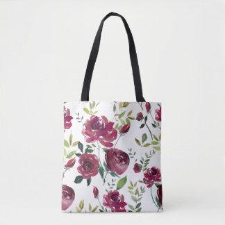Blumenmuster Watercolor-Burgunder-Blumen-| Tasche