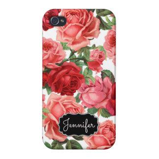 Blumenname der eleganten Vintagen rosaroten Rosen iPhone 4/4S Case