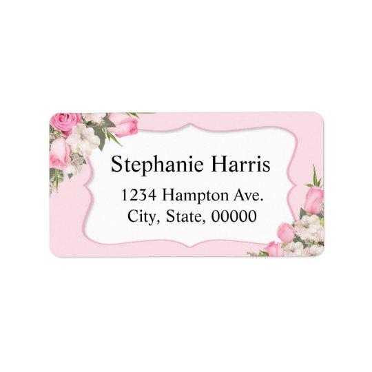 Blumennamensadressen-Aufkleber-Rosa-Rosen Adressaufkleber