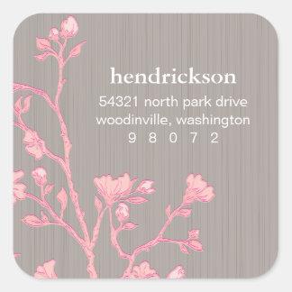 Blumenniederlassungs-Quadrat-Adressen-Etikett Aufkleber