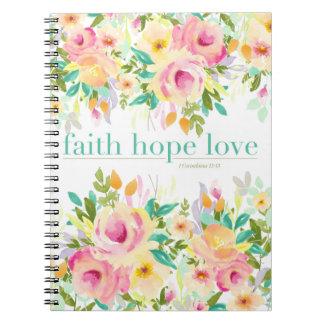 Blumennotizbuch der Glauben-Hoffnungs-Liebe-| (80 Spiral Notizblock