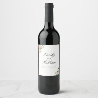 Blumenpfirsich-Aquarell-Hochzeits-Wein-Aufkleber Weinetikett