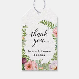 Blumenphantasie-Gastgeschenk Hochzeit danken Ihnen Geschenkanhänger