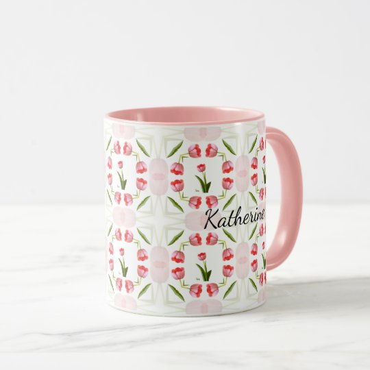 Blumenphotographie-Rosa-Tulpe-Kaleidoskop-Muster Tasse