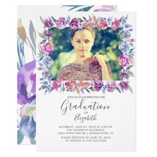 Blumenrahmen-Foto-Abschluss-Einladung Karte