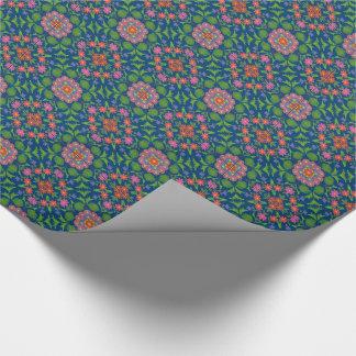 BlumenRangoli Muster, tiefes blaues Packpapier