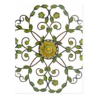 Blumenrebe-Blumen-Entwurfsmuster - grünes Gelb Postkarte
