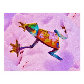 Blumenregenbogenfrosch auf Orchideenfarbschnee Postkarte