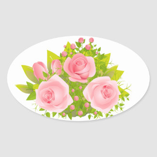 BlumenRose rosa u. grüne Wedding Blumen Ovaler Aufkleber