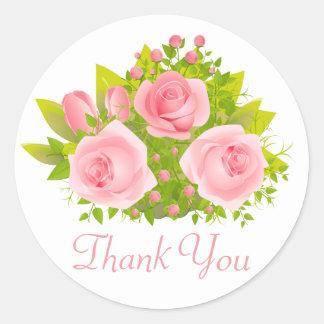 BlumenRose rosa u. grüne Wedding Blumen Runder Aufkleber