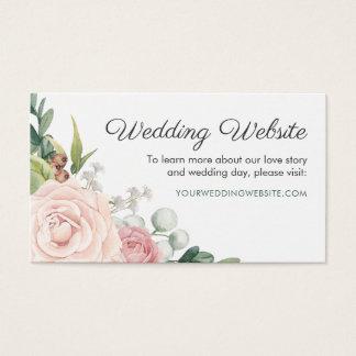 BlumenRose u. Grün winden Hochzeits-Website-Karte Visitenkarte