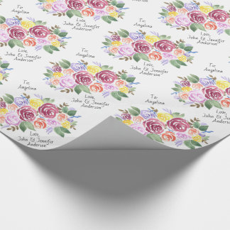 BlumenRosen-Blumenstrauß-Gewohnheit nach und von Geschenkpapier