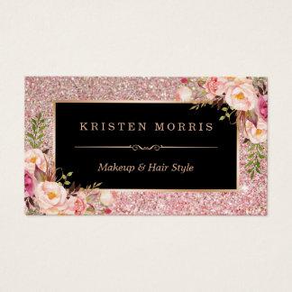 BlumenRosen-GoldGlitter-Make-upkünstler-Haar-Salon Visitenkarten