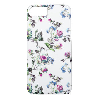 BlumenRosen-Muster - Rosa und Blau iPhone 8/7 Hülle