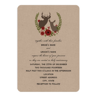 Blumenrotwild-Weihnachtshochzeits-Einladung