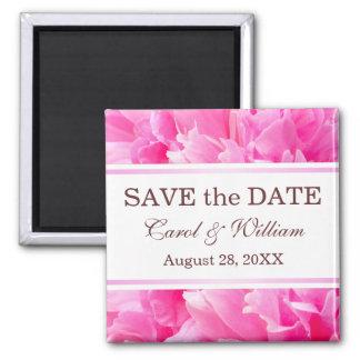 BlumenSave the Date Magnet der rosa Pfingstrosen-B Quadratischer Magnet