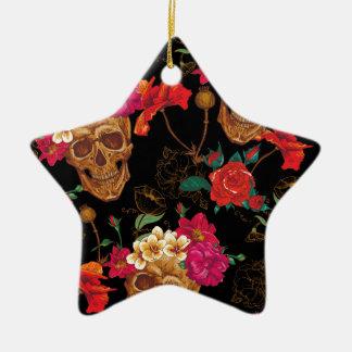 Blumenschädel Keramik Stern-Ornament