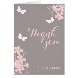 Blumenschmetterlings-Babyparty danken Ihnen zu Mitteilungskarte