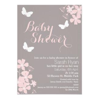 Blumenschmetterlings-Mädchen-Babyparty-Einladung 11,4 X 15,9 Cm Einladungskarte