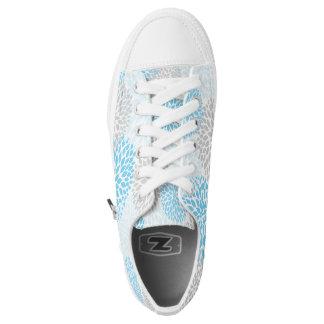 Blumenschuhe des blauen Graus, Dahlieturnschuhe Niedrig-geschnittene Sneaker