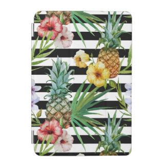 Blumenschwarzstreifen der Watercolorananas iPad Mini Cover