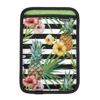 Blumenschwarzstreifen der Watercolorananas iPad Mini Sleeve