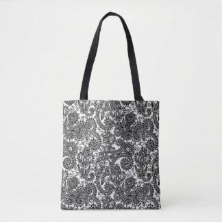 Blumenschwarzweiss-Paisley-Damast-Blumen Tasche