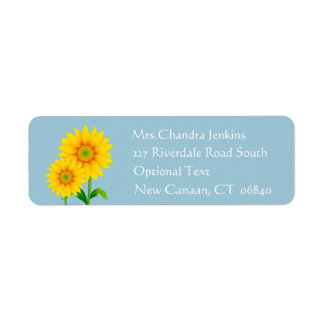 Blumensonnenblume-Gelb-Blumen-Blau Kleiner Adressaufkleber