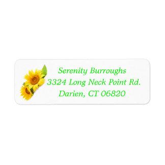Blumensonnenblume-Gelb-Sonnenblume-Blumen Kleiner Adressaufkleber