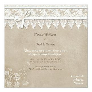 Blumenspitze-Schmetterlings-Hochzeit Quadratische 13,3 Cm Einladungskarte