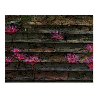 Blumensteinnatur der braunen grauen rosa postkarten
