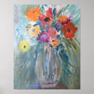 Blumenstrauß der Blumen im Glasvase Poster