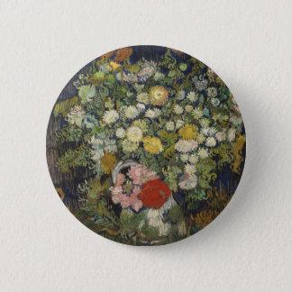 Blumenstrauß der Blumen in einem Vase Runder Button 5,1 Cm