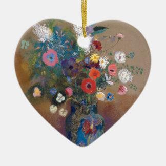 Blumenstrauß der Blumen - Odilon Redon Keramik Herz-Ornament