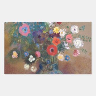 Blumenstrauß der Blumen - Odilon Redon Rechteckiger Aufkleber