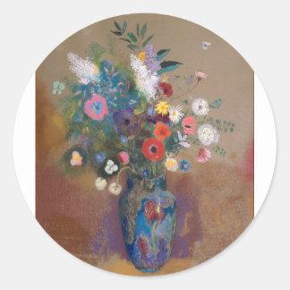 Blumenstrauß der Blumen - Odilon Redon Runder Aufkleber