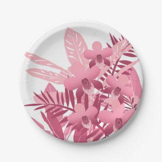 Blumenstrauß der rosa tropischen Pflanzen Pappteller
