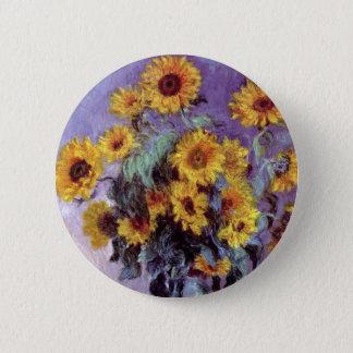 Blumenstrauß der Sonnenblumen durch Claude Monet, Runder Button 5,1 Cm