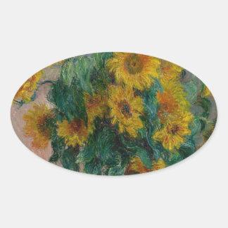 Blumenstrauß der Sonnenblumen Ovaler Aufkleber