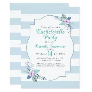 Blumenstrauß-Pastell Stripes Bachelorette einladen Karte